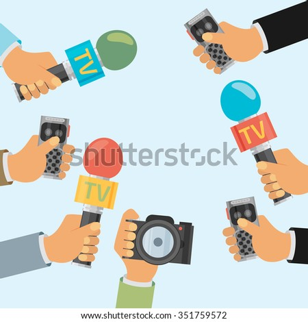 vector live report concept, live news, hands of journalists with microphones and tape recorders - stock vector