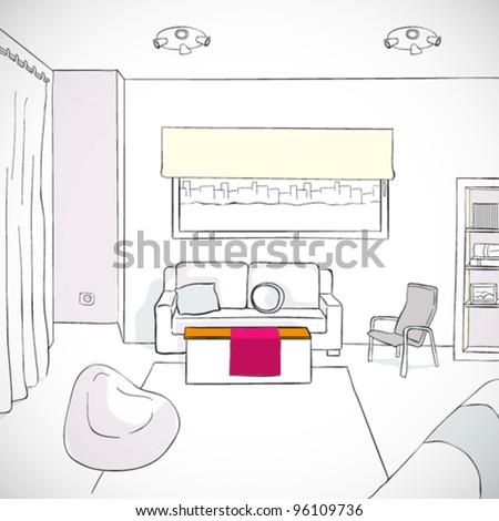 Vector Living room - stock vector