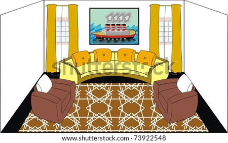 VECTOR - Living Room - Modern Design with Titanic Ship on The Wall - stock vector
