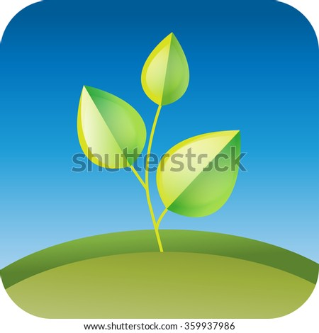 Vector llustration of plant sapling growing. Abstract garden landscape. - stock vector