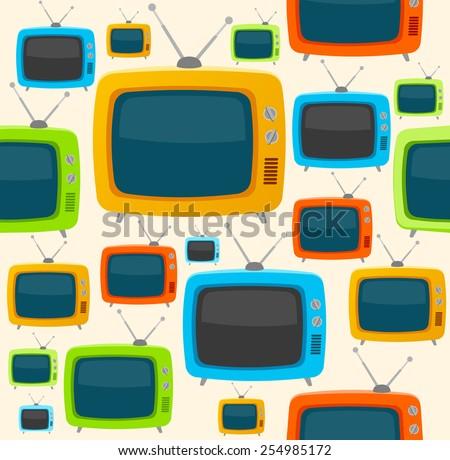 Vector llustration retro tv colorful seamless pattern. Flat Design. EPS10 - stock vector