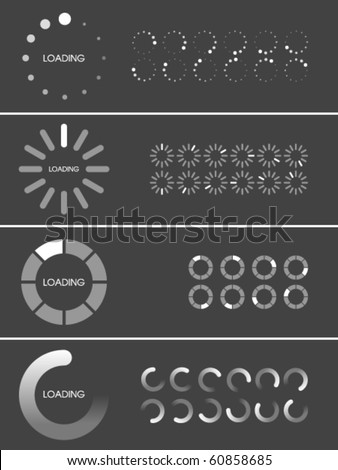 Vector Loader Progress Bar Designs - stock vector