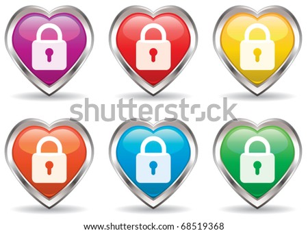 vector lock in the heart icon set - stock vector