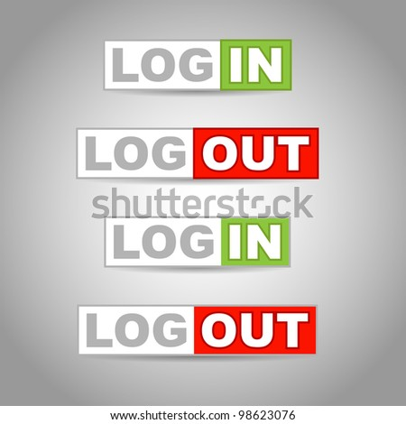 Vector log in and log out icons - stock vector