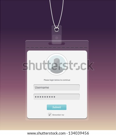 Vector log in form in a shape of badge - stock vector