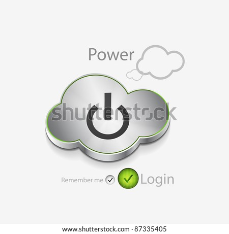 Vector login background with power button cloud - stock vector