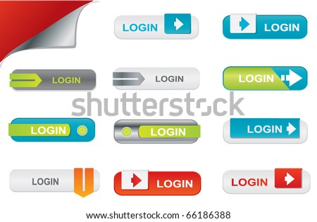Vector login buttons, website elements - stock vector