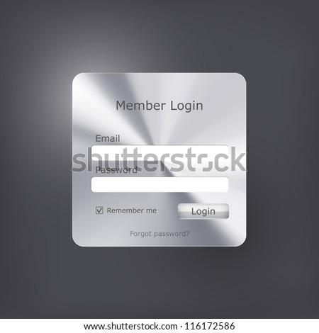 Vector login form with polished metal texture - stock vector