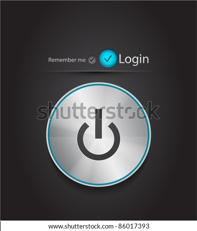Vector login page with tune power button - stock vector