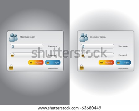 Vector login screen with dark and light background - stock vector