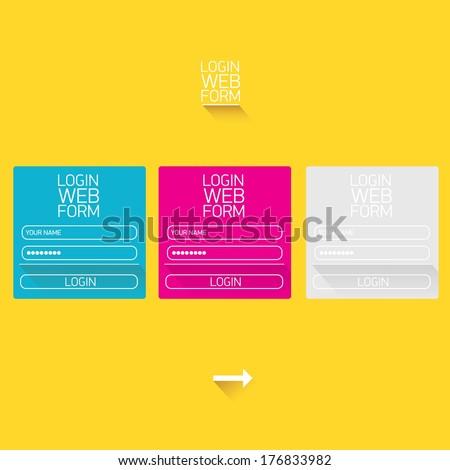 vector Login website template flat design. EPS8. website template - stock vector