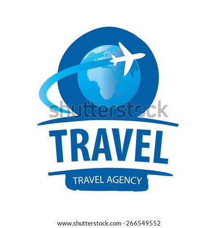 vector logo airplane flying around the globe - stock vector