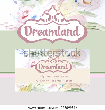 Vector logo and identification. Business card, banner. Perfumes and cosmetics. Dreamland. Floral fragrance - stock vector