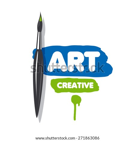 vector logo brush and blue and green paint - stock vector