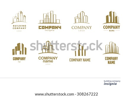 Vector logo collection for urban building company and industrial business. Horizon line. Office, architecture icon. Bank, insurance, technology insignia.  - stock vector