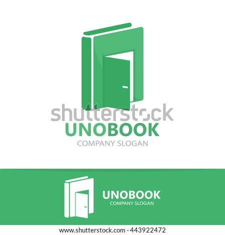 Vector logo combination of a book and door