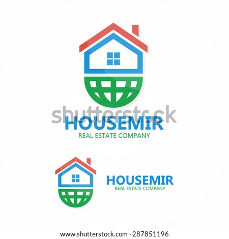 Vector logo combination of a home and earth