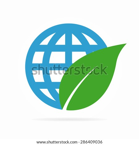 Vector logo combination of a leaf and globe - stock vector