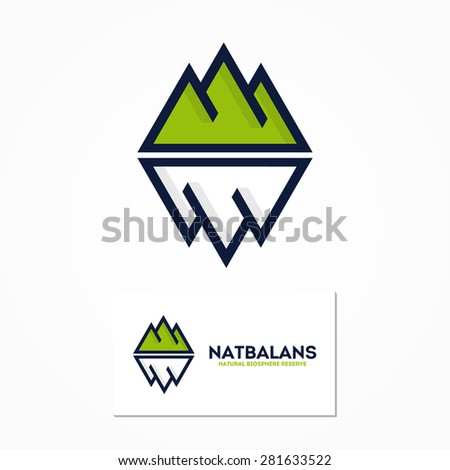 Vector logo combination of a mountain and iceberg - stock vector