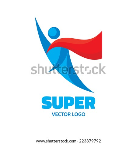 Vector logo concept. People character. Flying man. Human logo. Human icon. Human character illustration. Design element.  - stock vector