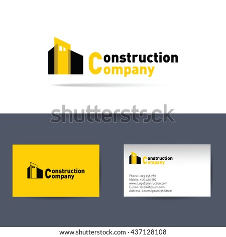 Vector Logo Construction Company And Business Card Template For Corporation