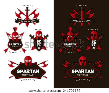 vector logo depicting weapons and Spartan helmet design concept idea for a mixed martial arts fight club style, or college teams in football or basketball, soccer - stock vector
