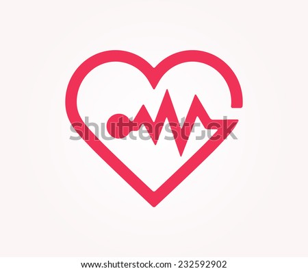 Vector logo design element on white background. Medical, heart, heart rate, cardiogram, minimal  - stock vector
