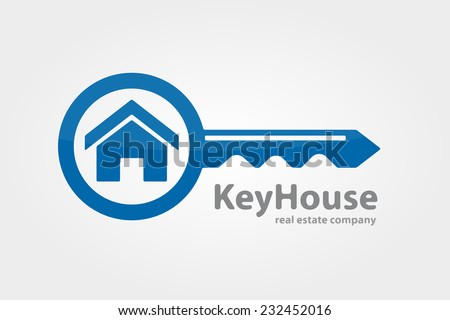 Vector logo design element on white background. Real estate, key, house, home - stock vector