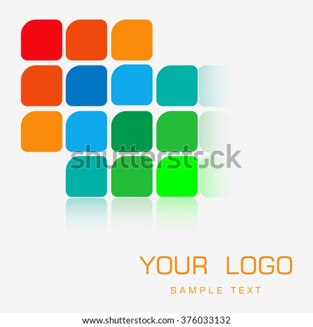 Vector logo design element with business card template on white background. Multicolored squares stylized LEDs.