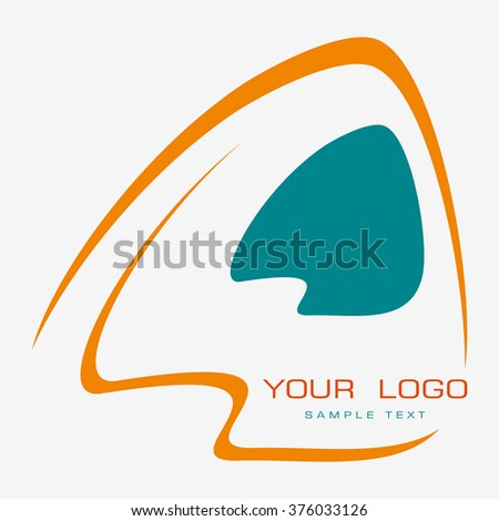 Vector logo design element with business card template on white background. Stylized lamp. - stock vector