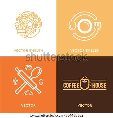 Vector logo design element with icons in trendy linear icons - abstract emblem for bakery, coffee shop, confectionery or sweet-shop - fresh and tasty food - stock vector