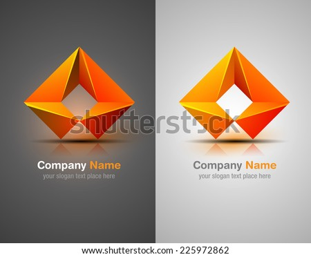 Vector logo design elements. Origami. Orange icon. Corporate identity. - stock vector