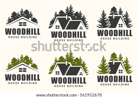 Vector Logo Design Of A Trees Silhouette And Small House For Repair