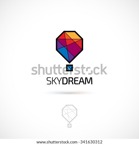 Vector logo design, polygonal hot balloon symbol icon. Logotype template. - stock vector