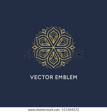 Vector logo design template and emblem made with leaves and flowers - luxury beauty spa concept - badge for yoga studios, holistic medicine centers, natural and organic food products and packaging