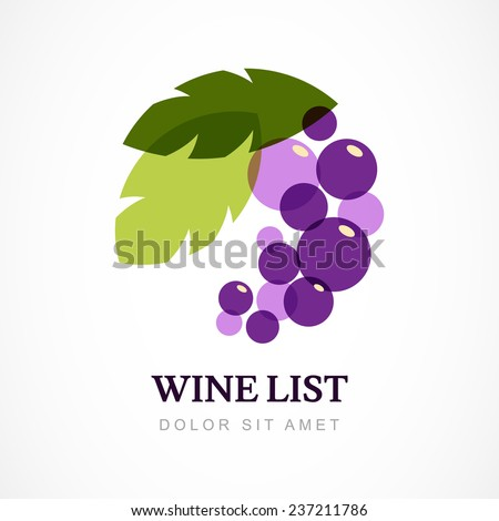 Vector logo design template. Branch of grape with leaves.  - stock vector