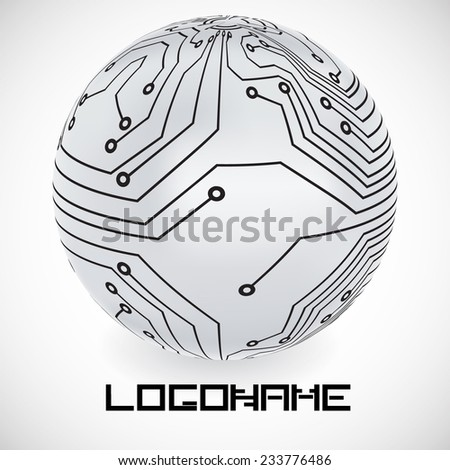 Vector Logo Design Template . Circuits in Sphere Form . Technology Icon.