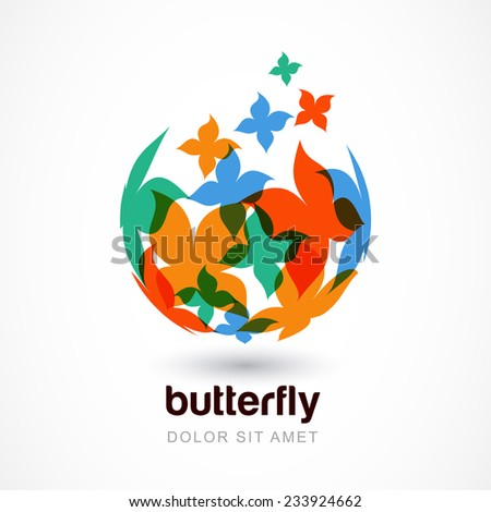 Vector logo design template. Colorful abstract flying butterflies on sphere. Concept for celebration, beauty, holidays, travel, creativity themes. - stock vector