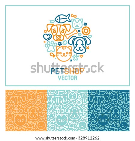 Vector logo design template for pet shops, veterinary clinics and homeless animals shelters - circle made with mono line icons of cats and dogs - circle badge and seamless patterns for packaging - stock vector