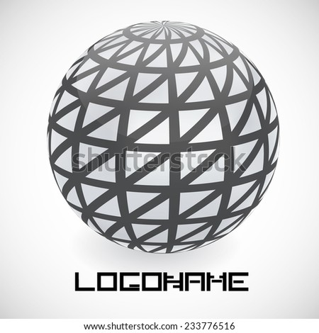 Vector Logo Design Template . Geometric Shapes in Sphere Form . Technology Icon.  - stock vector