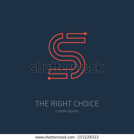 Vector logo design template, letter S. Concept idea of the right choice. The way out of the maze. - stock vector