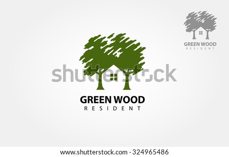 Vector logo design template of two trees incorporate with a house that made from a simple scratch. it's good for symbolize a property or wooden housing business.  - stock vector