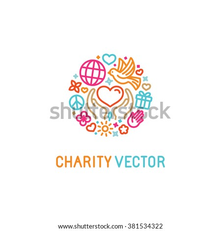 Vector logo design template with icons in trendy linear style - charity concepts and volunteer organization emblem - love and care