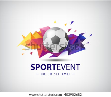 vector logo for football teams and tournaments, championships soccer. isolated. Football ball on colorful faceted origami abstract background. Icon, logo, composition, illustration - stock vector