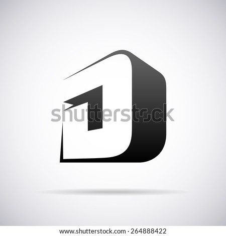 Vector logo for letter D design template - stock vector