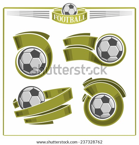 Vector logo for retro vintage emblem football soccer balls with green ribbons for inscriptions of names of sports clubs and text isolated on white background