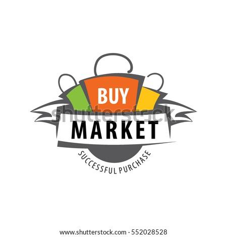 vector logo market bags tape stock vector 552028528
