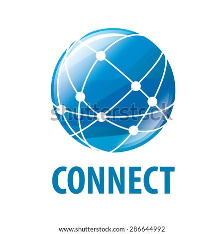 vector logo global network worldwide - stock vector