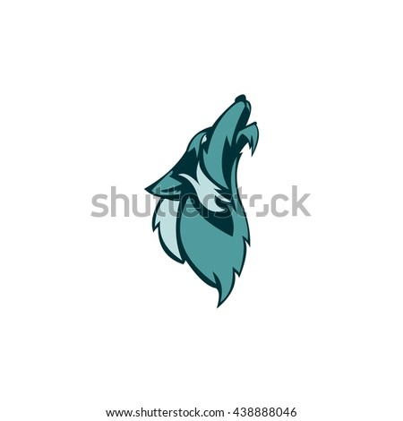 Vector Logo head of a wolf design template. flat style design. - stock vector