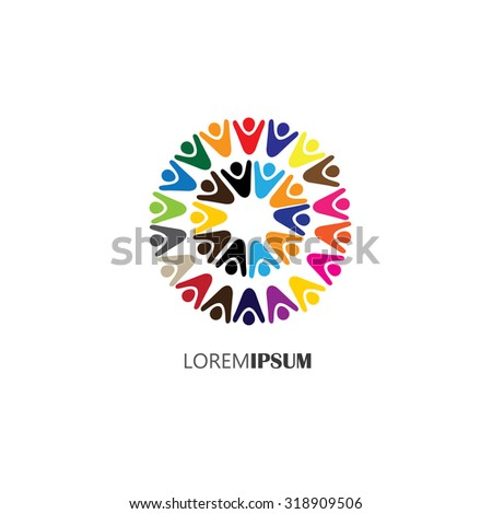 vector logo icon of people in circles. this can also represent teamwork, cooperation, togetherness, team, organization, employees, children, unity, united, partnership, friendship - stock vector